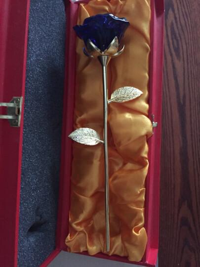 点魅 生日礼物送女友 创意合成水晶玫瑰花送老婆 创意结婚纪念日礼品摆件 紫色含苞款+花瓶+礼盒 晒单图