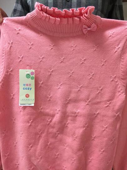 小咕嘟熊 童装女加绒加厚上衣秋冬装打底衫休闲儿童女童毛衣 玫红 130 晒单图