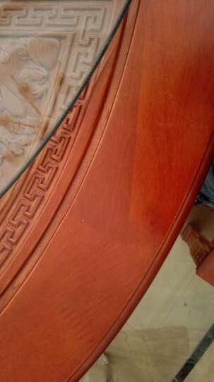 德满居 实木仿古明清餐桌椅组合 橡木圆桌带转盘饭桌酒店茶楼家具 一桌+10牛角椅 1.5米 晒单图