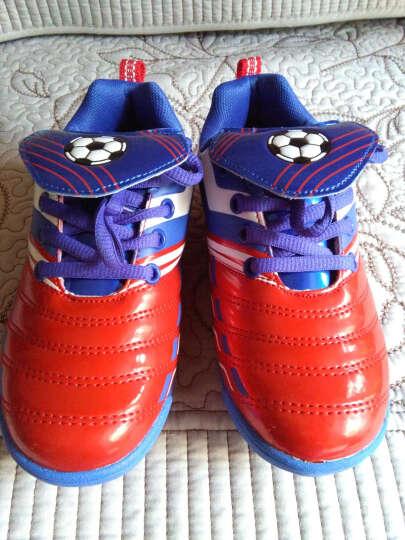 新款回力儿童运动鞋 低帮系带皮足平地训练鞋人工草地碎钉足球鞋 WF3021蓝色 33/内长约20.5cm 晒单图