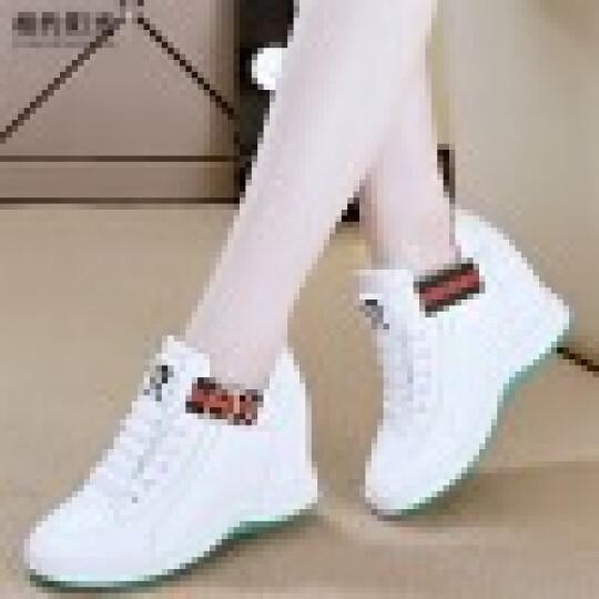 亚蒂狐(YADIHU) 亚蒂狐新款小白鞋运动休闲鞋内增高女鞋时尚休闲单鞋 白单鞋 36 晒单图