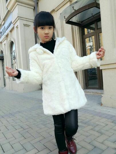 丘米禾(QiuMiHe) 童装2017新款中大女童外套皮草6-8-10岁冬装公主毛毛上衣 横条红色 140 晒单图