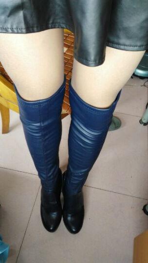 莱卡金顿女靴 长靴高跟长筒靴弹力过膝靴纯色粗跟高筒靴 深蓝色热卖 37标准码 晒单图