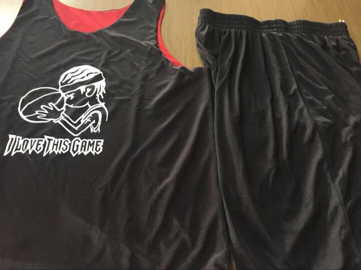 透明风 篮球服套装男冬季双面穿球衣运动背心训练比赛队服团购定制双面篮球服 黑/白-光板 2XL 适合身高170-175CM 晒单图