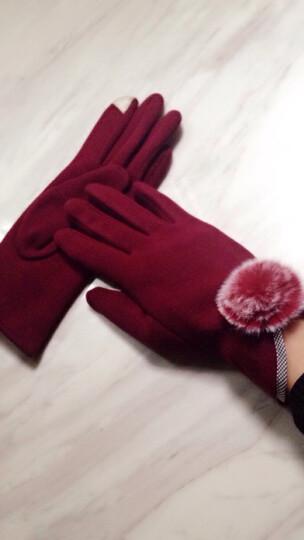 子瞻 手套女士保暖可爱冬季触屏羊毛线手套加绒加厚麂皮绒混开车骑行时尚韩版新款学生 麂皮绒蝴蝶 粉色 晒单图
