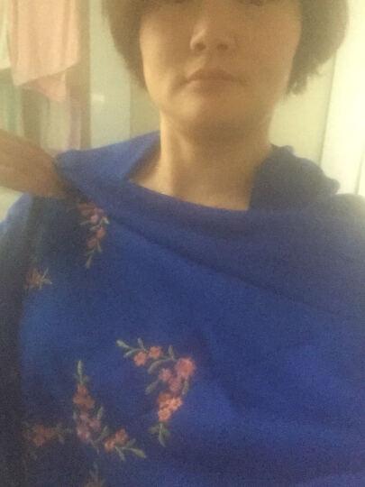 蝶舞翩翩仿羊绒围巾披肩女士秋冬季保暖围脖羊毛围巾两用 宝蓝 晒单图