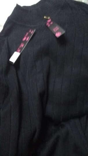 墨茉2018春季新款半高领毛衣女针织衫女中长款拼接蕾丝打底衫女套头长袖条纹宽松韩版百搭潮 浅棕 2XL 晒单图