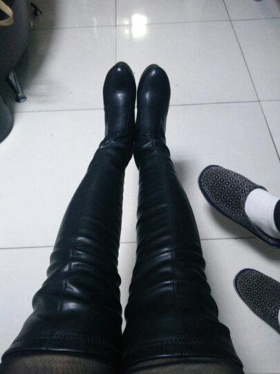 莱卡金顿女靴 长靴高跟长筒靴弹力过膝靴纯色粗跟高筒靴 黑色热卖 36标准码 晒单图