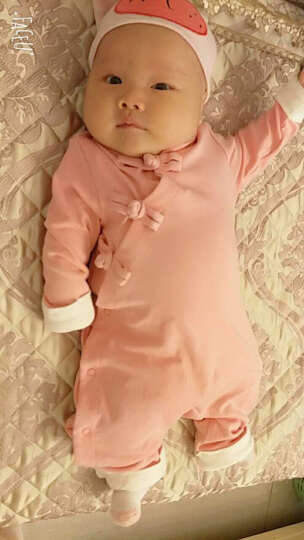 芮帕两三个月女宝宝连体衣服婴儿旗袍男孩秋季公主中国风哈衣男宝秋装 黄色旗袍中国风单层 66CM(66(3-6个月) 晒单图