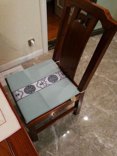 中式简约官帽椅圈椅红木沙发垫冬藤席椅垫实木沙发坐垫 浅蓝细麻 40*40cm*2cm 晒单图