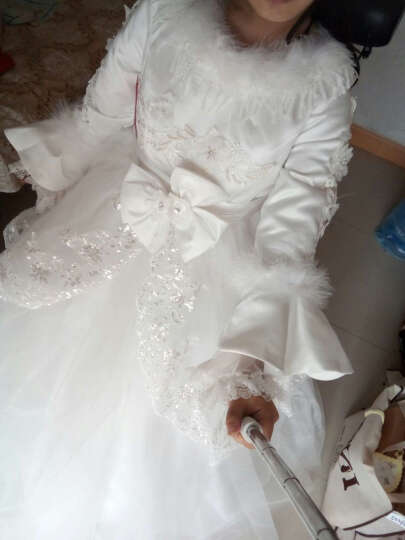 勇艳好合孕妇婚纱冬季高腰齐地韩式大码修身加厚长袖毛领新娘结婚礼服冬装 白色 XL 晒单图