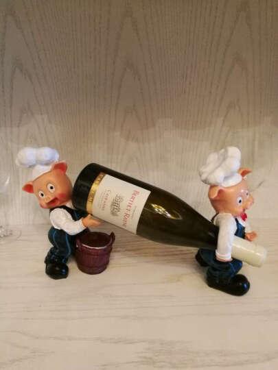 欧式玩偶个性时尚红酒架摆件欧式高档摆设杯架树脂创意葡萄酒架酒杯架 小猪抬酒 晒单图