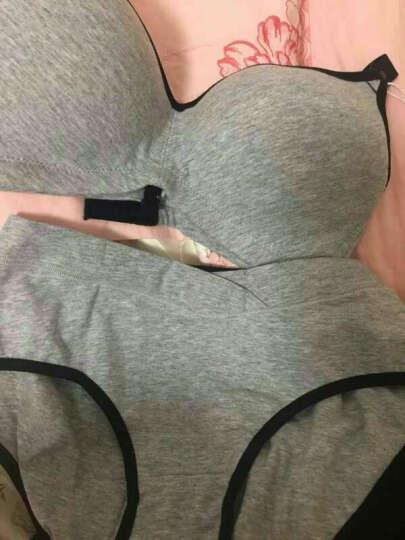 摩登孕妈 哺乳文胸孕妇内衣无钢圈胸罩低腰纯棉内裤套装 西瓜红(前扣) 36/80C+L 晒单图