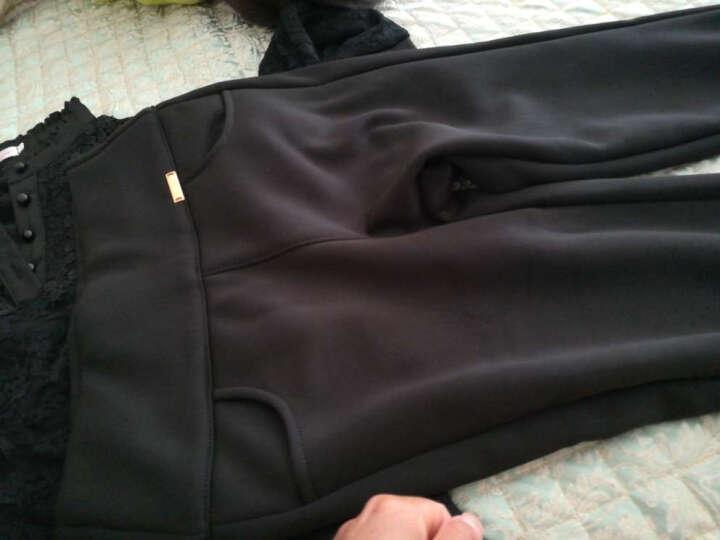 香芙曼加绒加厚长袖t恤2018秋冬新款女装花边高领蕾丝打底衫女50232 黑色不加绒 2XL 晒单图