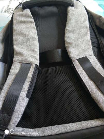 马可莱登电脑包防盗背包男士双肩包学生书包多功能大容量商务旅行出差包时尚潮流MR5815 黑色撞色 晒单图