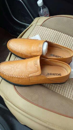 兽霸男鞋运动休闲鞋时尚透气英伦板鞋子学生潮鞋驾车鞋豆豆鞋 8028红棕 40 晒单图