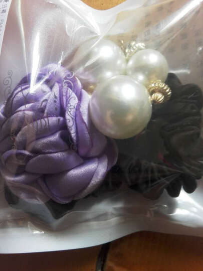 父爱饰品 时尚大花朵珍珠发圈皮筋发绳发饰 百搭扎头发头绳头饰 藏青色 晒单图