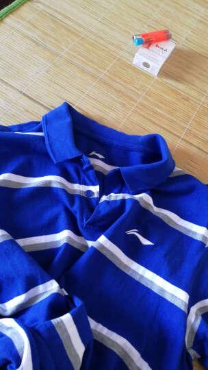 李宁官方男子运动时尚系列纯棉吸湿短袖POLO衫APLM157 男装 花灰暴风蓝/基础白 M 晒单图