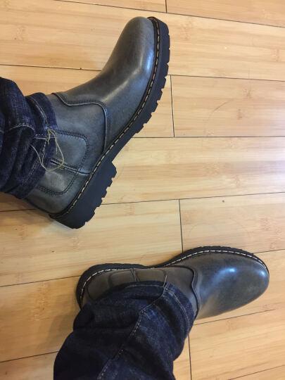 加特波斯(CATBOOSH)牛皮男靴加绒保暖男士新款马丁靴男皮靴子男工装靴潮流百搭短靴 9996灰色 39-皮鞋码 晒单图
