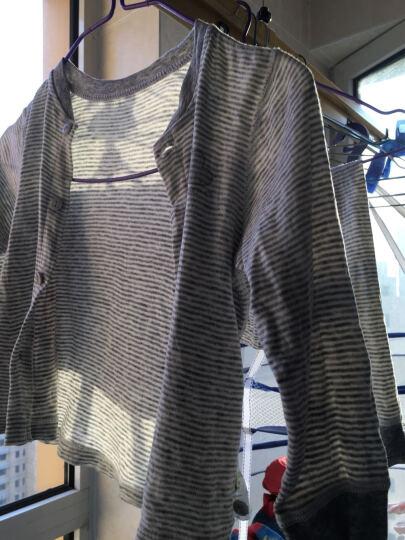 迪士尼宝宝(Disney?baby)婴儿内衣棉毛布长袖前开男童套装DA532AR20HT180浅麻灰条 80码 晒单图