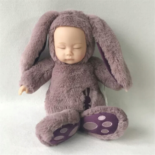45CM大号睡萌娃娃 仿真睡眠玩偶安抚娃娃 多色邦尼兔 军绿兔 大号长毛款-全长约38_40CM 晒单图