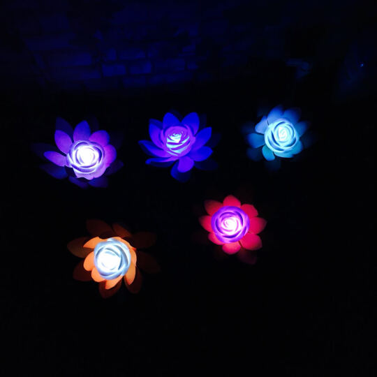 如一花开 LED荷花灯供佛 水灯河灯莲花灯 水晶佛灯七彩莲花灯水池仿真荷花 17厘米紫色荷花灯 晒单图