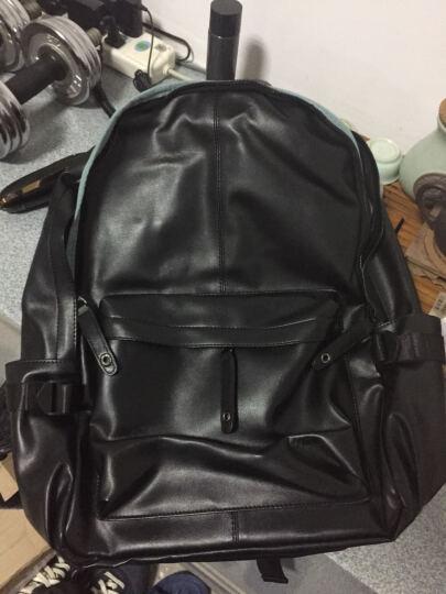 第九城(V.NINE)双肩包 男士大容量旅行背包14英寸/15.6英寸电脑包韩版休闲中大学生书包 款式2-米白配灰(832989) 晒单图