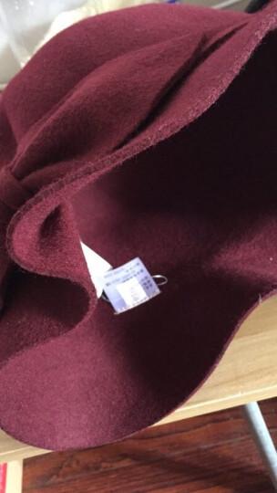布塔帽子女秋冬季小礼帽羊毛呢帽冬天时装帽蝴蝶结帽子 枣红色 (56cm-58cm) 晒单图