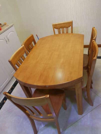 鲁菲特 实木餐桌 可伸缩折叠实木餐桌椅组合 餐桌餐椅套装 圆形饭桌子  lzc_630 1.38米海棠色 单桌子 晒单图
