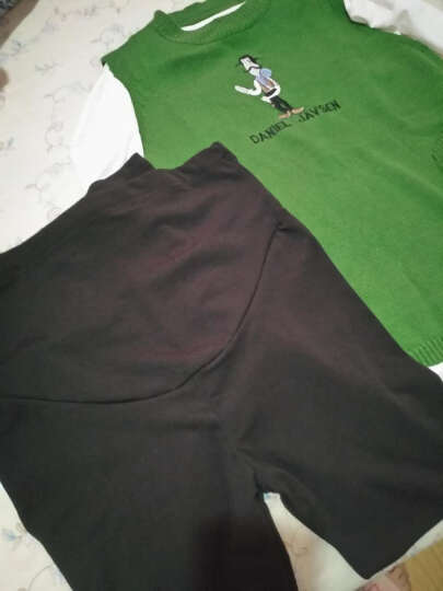 佳玬孕妇装2018夏装纯棉孕妇裙印花中长款短袖孕妇连衣裙潮妈 绿色上衣两件套+裤子 XL 晒单图