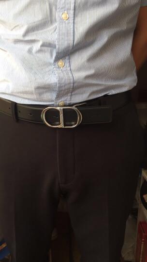 孔雀翎 全球购 迪奥(Dior) 新款男士镀钯双面CD带扣黑色和棕色小牛皮皮带 双面腰带 105 晒单图
