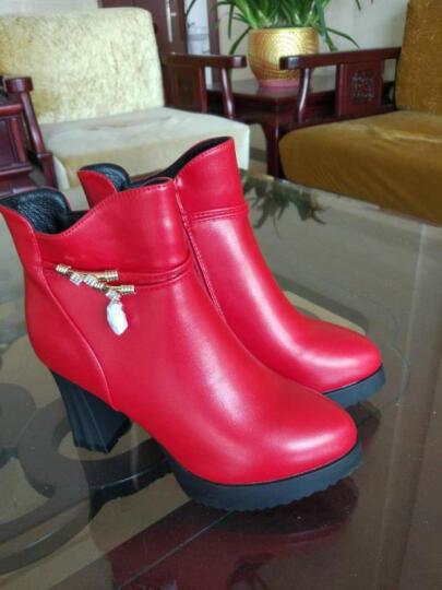欧雅玲珑女靴尖头粗跟高跟鞋靴女防水台短靴女冬季新款时装靴女舒适工作鞋靴女长靴 黑色DH5519 35 晒单图