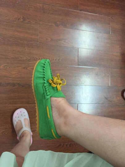 春夏新单女士平跟豆豆鞋浅口休闲一脚蹬套脚鞋蝴蝶结牛筋底糖果色 柠檬黄 36 晒单图