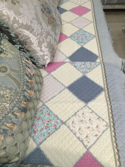 沁泰 拼布沙发垫四季布艺沙发套套装全棉绗缝加厚沙发巾 初遇 粉红色 60+15花边*70cm 晒单图