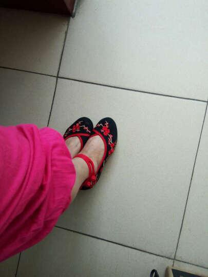 汉朴思女鞋梅花老北京布鞋中国风坡跟内增高女鞋广场舞鞋民族风绣花鞋 黑色 38 晒单图