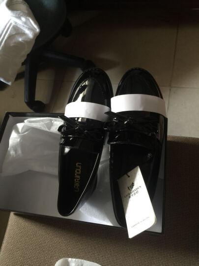 莱卡金顿 单鞋女休闲女鞋子时尚皮鞋低帮学生浅口鞋 黑色 36 晒单图