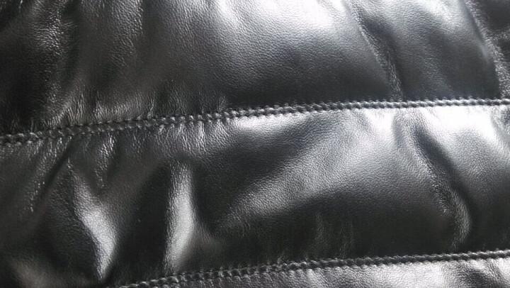 若一海宁真皮皮衣男皮羽绒水貂领真皮羽绒服男皮草绵羊皮夹克男皮外套 黑色 175(XL) 晒单图
