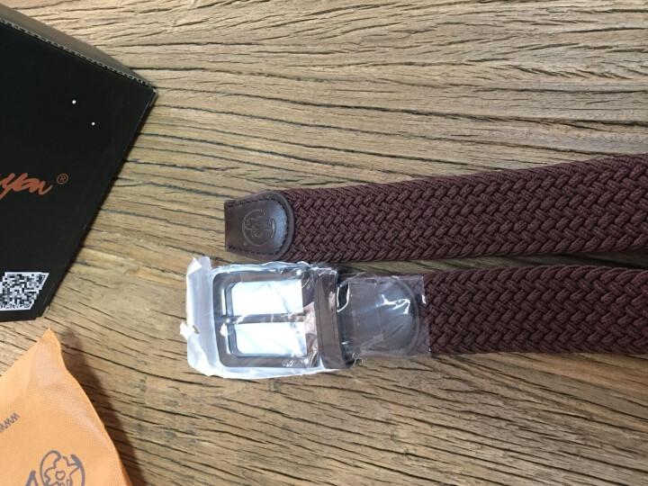 豆鼓眼男士腰带针扣休闲帆布皮带弹力编织运动腰带YD005 咖啡色 晒单图