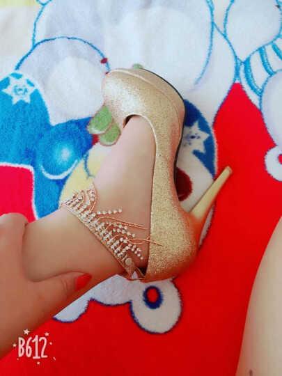 高跟鞋 女货到付款 谜麦2018春季新款婚鞋女婚纱鞋新娘鞋亮片女鞋防水台夜店鞋单鞋女 金色 34 晒单图