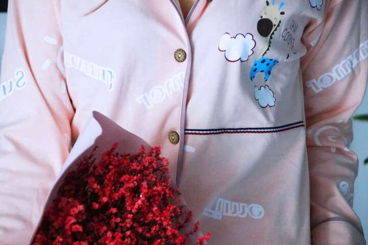 岩宜 情侣睡衣女秋季韩版棉质长袖休闲开衫男女士薄款睡衣女可爱家居服套装 闭眼萌小熊 女XL 晒单图