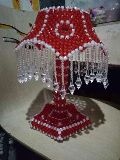 手工串珠材料包婚庆用品家居爱心台灯材料包送教程 五角吊坠 大红 晒单图