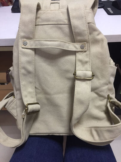 豆鼓眼(DouGuYan)帆布双肩背包女韩版休闲抽带学生书包G00117深棕色 晒单图