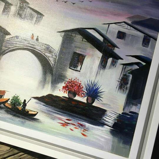 GOLLY ART 画家手绘油画 玄关装饰画客厅壁画风景画餐厅墙壁挂画 新中式江南水乡 E 款(手绘油画发货时间为7-15天) 60cm*60cm 晒单图