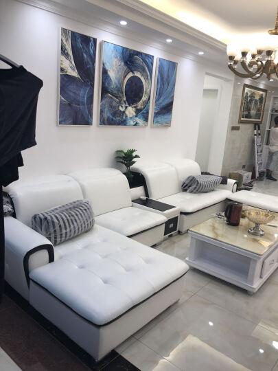【2件7折】慕尼思丹 沙发 布艺沙发 单双三人皮布沙发 客厅家具 懒人沙发 现代简约沙发床 双人位+双人位+脚踏+双扶手单人位 晒单图