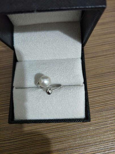 PEARLONA 逸 珍珠戒指 S925银镶嵌淡水珍珠戒指 强光淡水珍珠开口可调节戒指 7-8mm紫色珍珠配925银 晒单图