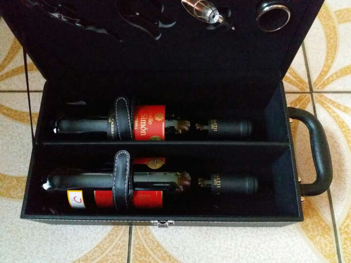 西班牙原瓶进口红酒 西莫干红葡萄酒双支皮盒礼盒装750ml*2瓶(内含四件套) 晒单图