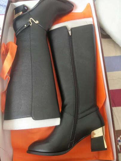 红蜻蜓女靴 时尚长筒靴舒适圆头简约金属扣方跟女棉靴 WNC63601/02 黑色 35 晒单图