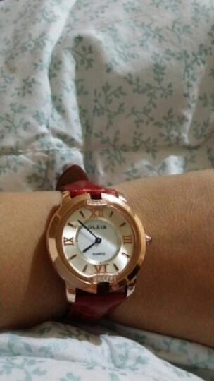 欧雷亚(OLEIR) 女士手表学生手表石英女表防水时尚女款水钻皮带手表女腕表时尚潮流新款手表 玫瑰金黑色钢带有刻度 晒单图