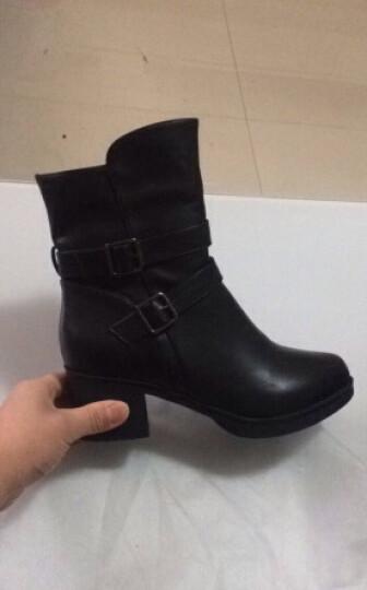 百年莱卡短靴女冬季新款粗跟女鞋中筒靴短筒高帮长皮靴高跟加绒加厚防滑保暖靴子 黑色【筒高14.5公分】 36 晒单图
