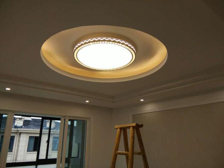 LED吸顶灯 卧室灯温馨浪漫水晶灯现代简约圆形阳台灯具 浅灰色 晒单图